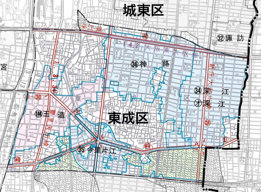 東成区の地図