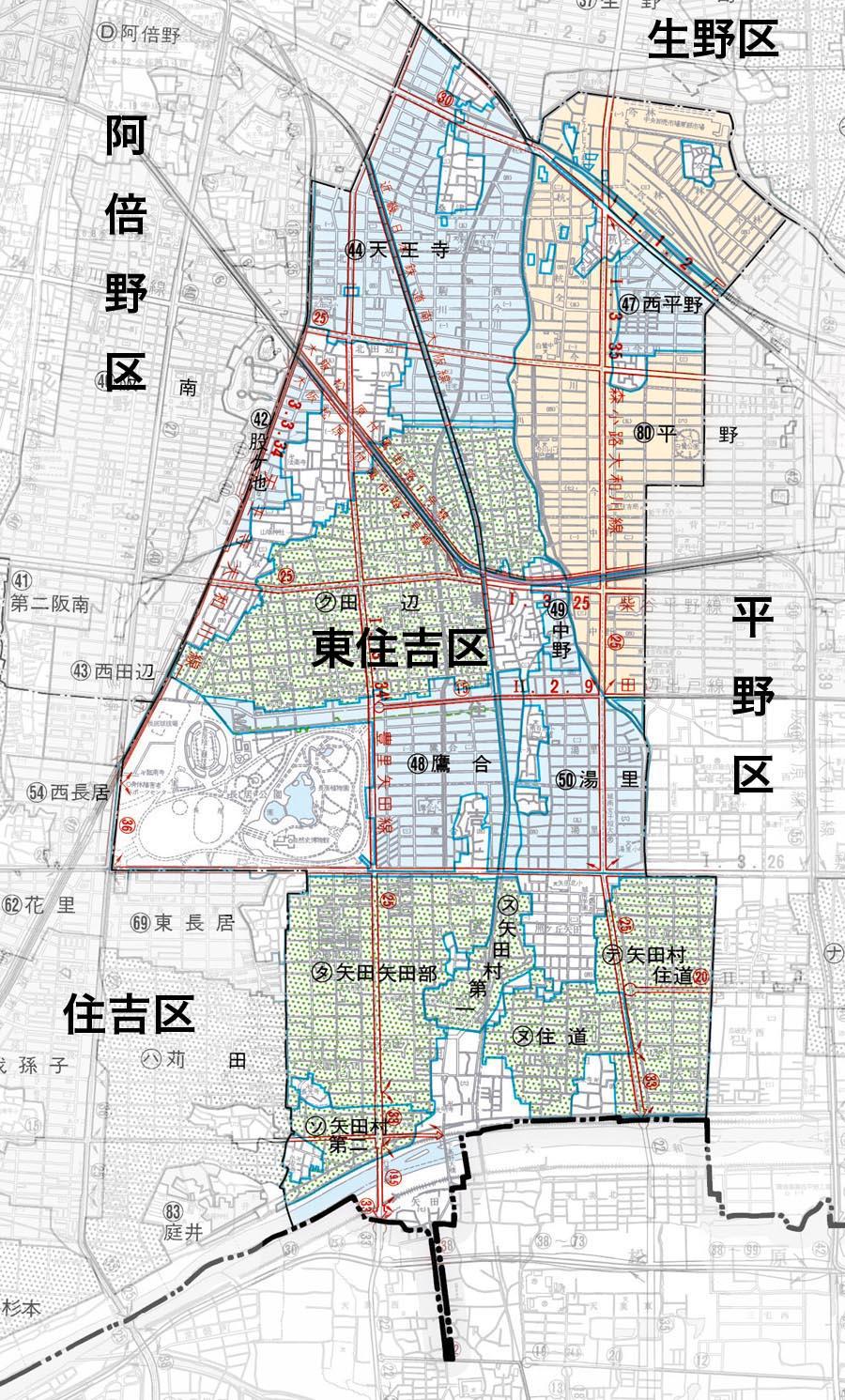 東住吉区の地図