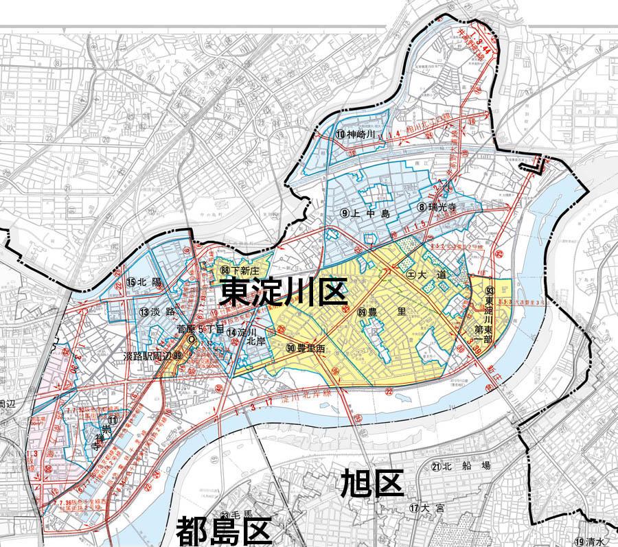 東淀川区の地図