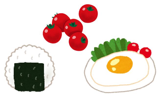 おにぎり、ミニトマト、目玉焼きのイラスト
