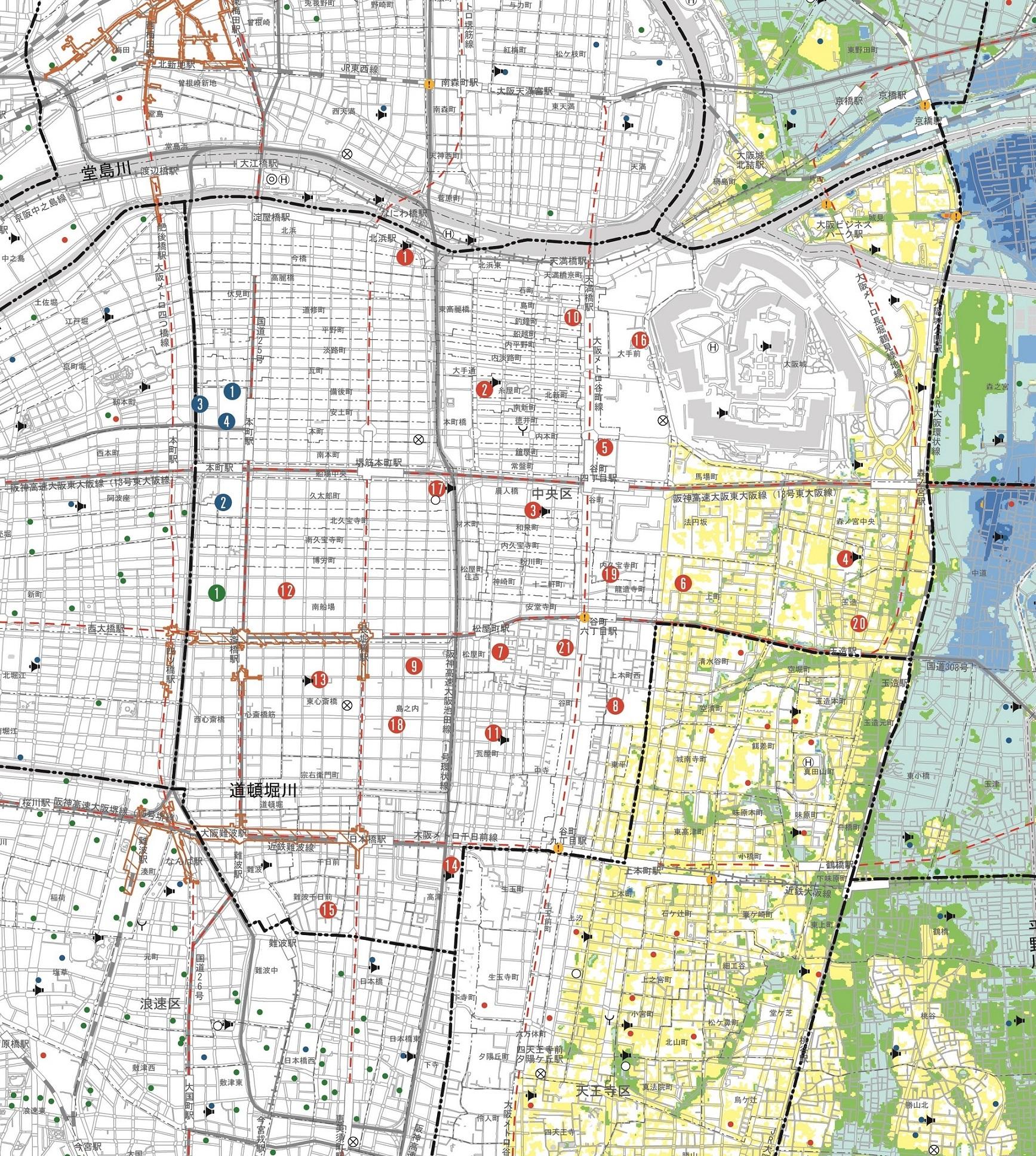 大阪市:水害ハザードマップ(中央区) (…>災害に備える>ハザードマップ)
